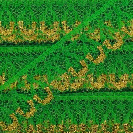 Ruban Dentelle lurex doré Line vert
