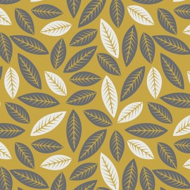 "Tissu Camelot Fabrics ""Leaves in golden"" x 10cm"