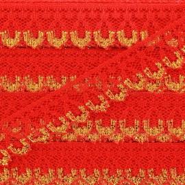 Ruban Dentelle lurex doré Line rouge