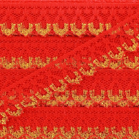 Lace golden lurex ribbon Line - red