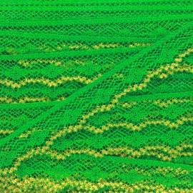 Ruban Dentelle lurex doré Yaëlle vert