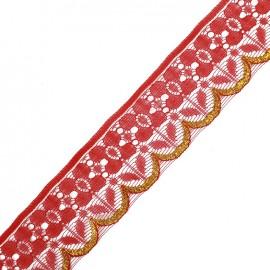 ♥ Coupon 300 cm ♥ Lace golden lurex ribbon Jade - red