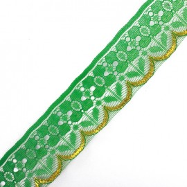 Ruban Dentelle lurex doré Jade vert