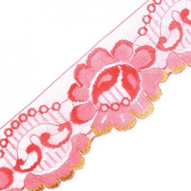Lace golden lurex ribbon Ambre - red