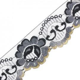 Lace golden lurex ribbon Ambre - black