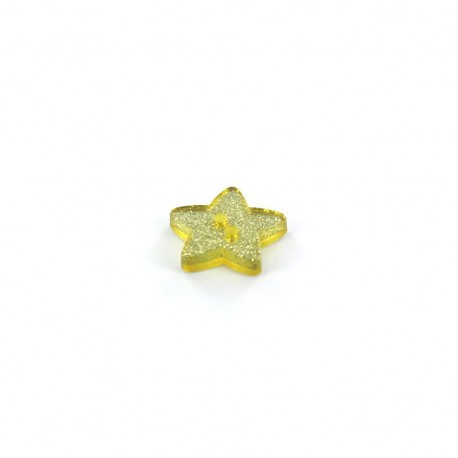 Polyester button, glitter star - lime