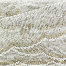 Lace lurex ribbon Louise - white/gold