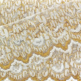 ♥ Coupon 195 cm ♥ Lace lurex ribbon Léane - white/gold
