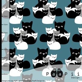 Tissu Jersey Paapi Design Kittens - Bleu Pétrole x 28.5cm