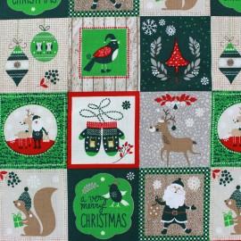 Tissu Noël Christmas patchwork vert x 63cm