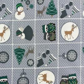 Tissu Noël Sweet Christmas gris x 29cm