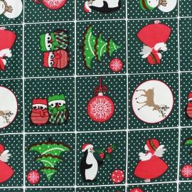 Tissu Noël Sweet Christmas vert x 29cm