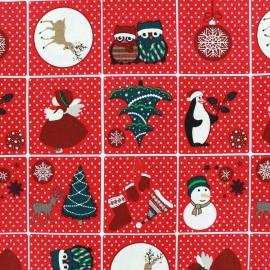 Tissu Noël Sweet Christmas rouge x 29cm