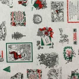 Tissu toile Noël Best wishes x 64cm