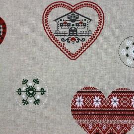 Tissu toile Noël Coeurs x 31cm