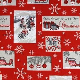 Tissu toile Noël Beautiful Christmas x 64cm