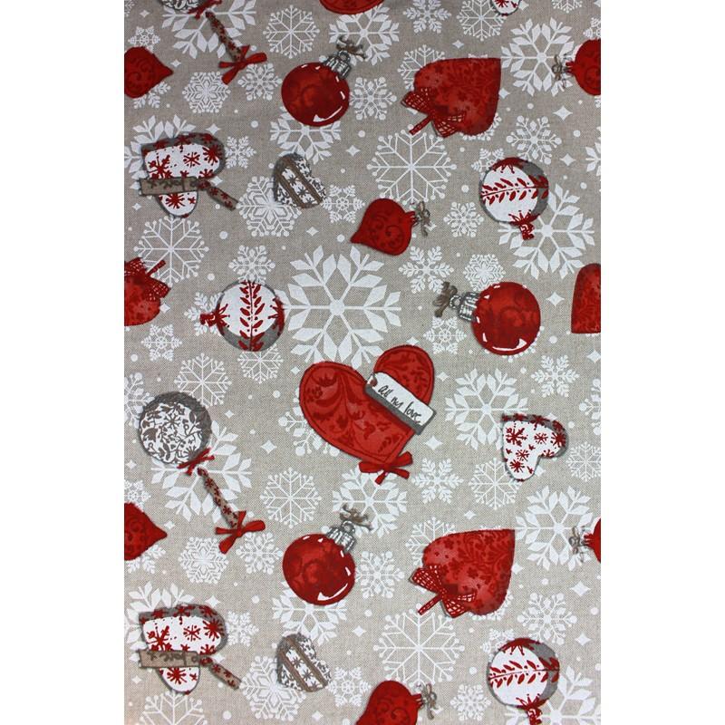 tissus pas cher tissu toile no l love at christmas x 31cm. Black Bedroom Furniture Sets. Home Design Ideas