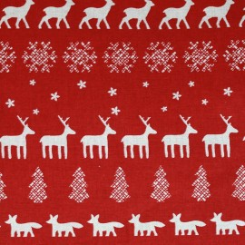 Tissu toile Noël frise rouge x 31cm