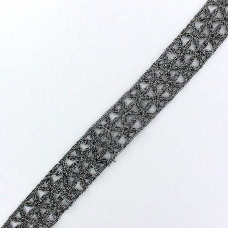 Lamé Lace Ribbon Lily - Steel