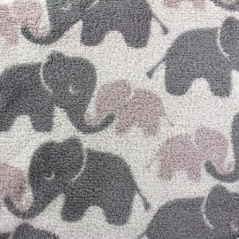 Tissu Doudou Jumbo gris x 10cm