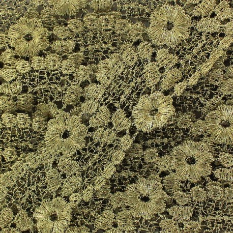 Lamé Lace Ribbon Flowered - Gold