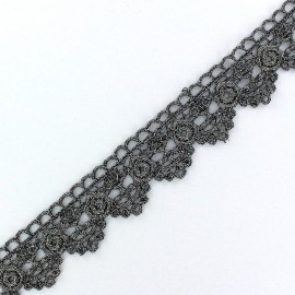 Lamé Lace Ribbon Roses - Steel