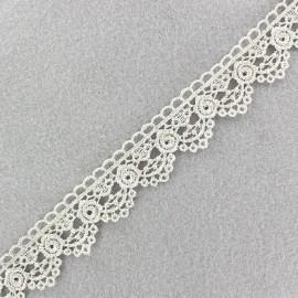 Ruban Dentelle lamé Roses perle × 50cm