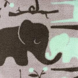 Tissu Doudou Jungle Jumbo taupe/bleu givré x 10cm