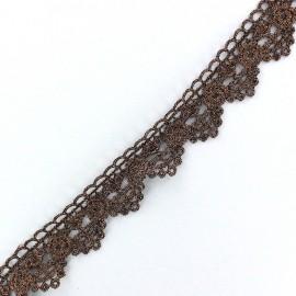 Ruban Dentelle lamé Roses cuivre x 50cm