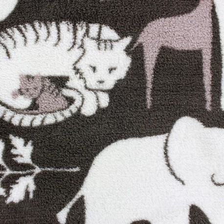 Tissu Doudou Jungle Jumbo marron/blanc x 10cm