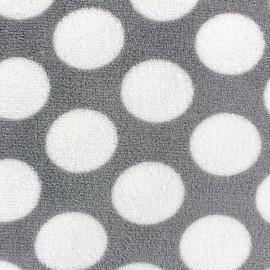 ♥ Coupon 150 cm X 150 cm ♥ Tissu Doudou Polka Dots gris