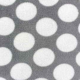 Tissu Doudou Polka Dots gris x 10cm