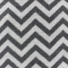 Tissu Polaire Chevron gris x 10cm