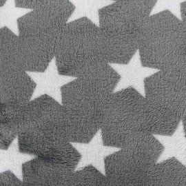 Tissu Doudou Big star gris x 10cm