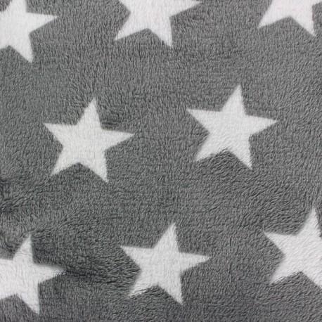 Tissu Doudou Big star gris clair x 10cm