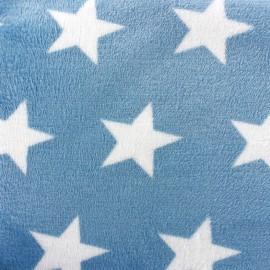 Tissu Doudou Big star bleu nuit x 10cm
