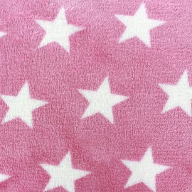 Blanket fabric Big star - pink x 10cm