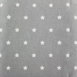 Cretonne Cotton Fabric Stars - grey x 10cm