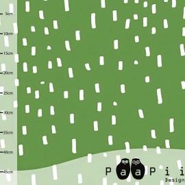 * Coupon 30 cm X 160 cm *  Tissu Jersey Paapi Design Rain - Vert
