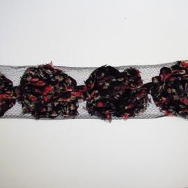 Galon mousseline fleuri noir