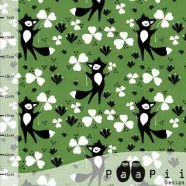 Tissu Jersey Paapi Design Clover fox - Vert x 18.5 cm
