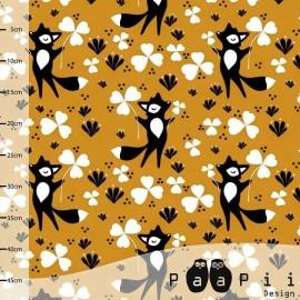 Tissu Jersey Paapi Design Clover fox - Moutarde x 18.5 cm