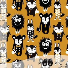 Tissu Jersey Paapi Design Party Animals - Moutarde x 29 cm