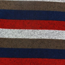 Striped fleece Jersey Fabric - multi blue  x 10cm