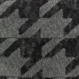 Tissu Lainage dentelle Pied de Coq - gris x 10cm