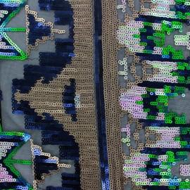 Tissu Viscose Paillettes Aztec irisé x 15cm