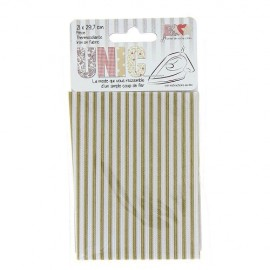 Tissu thermocollant rayures beige/blanc