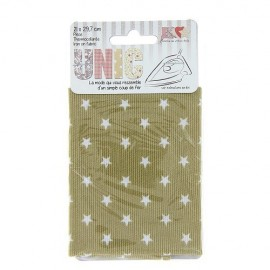 Iron on fabric stiched stars - beige/white