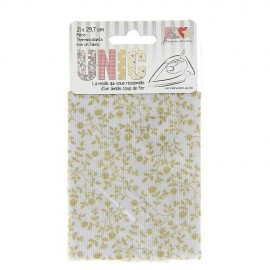 Tissu thermocollant fleuris blanc/beige
