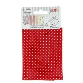 Tissu thermocollant mini pois blanc/rouge